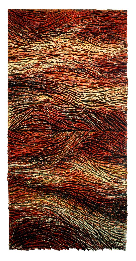Red Strata I&II Stacked Diptych 36x72